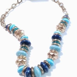VINTAGE NECKLACE BEADED BLUE AND GOLDTONE NECKLACE